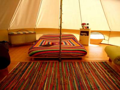 Our Furnished Bell tents in the Meadow