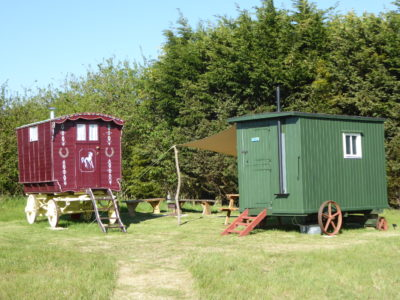 Our traditional Shepherd's hut and Gypsy Caravan